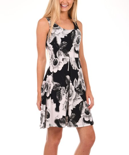 3f9612a89efe2 love this product Black   White Floral Fit   Flare Dress - Plus