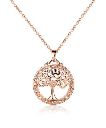 5b2043666 Barzel 18k Rose Gold-Plated Circle Pendant Necklace With Swarovski ...
