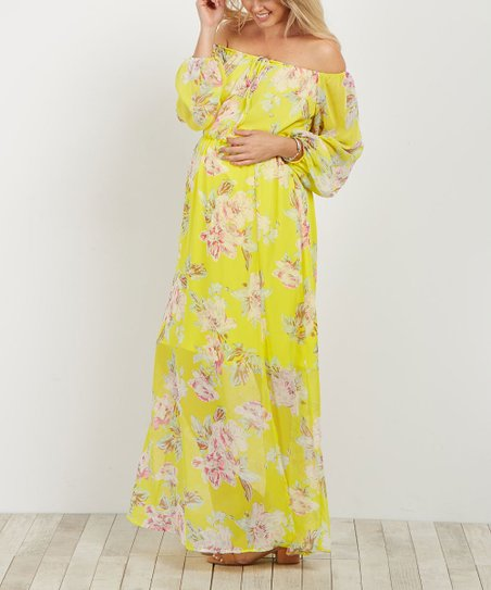635c957ebeb love this product PinkBlush Yellow Floral Off-Shoulder Maternity Maxi Dress