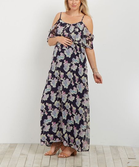 67d2e6ce514 love this product PinkBlush Navy Blue Floral Cold Shoulder Maternity Maxi  Dress