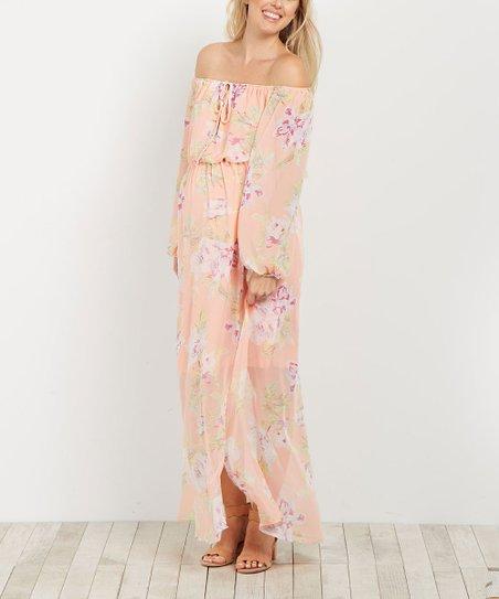 0cd8a09781bc PinkBlush Maternity Peach Floral Off-Shoulder Maternity Maxi Dress ...