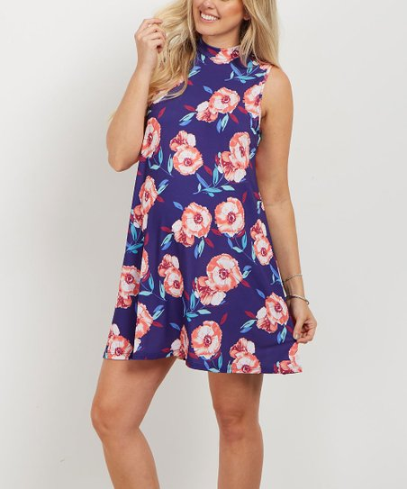 Pinkblush Maternity Pinkblush Navy Blue Floral Mock Neck Maternity Dress Best Price And Reviews Zulily