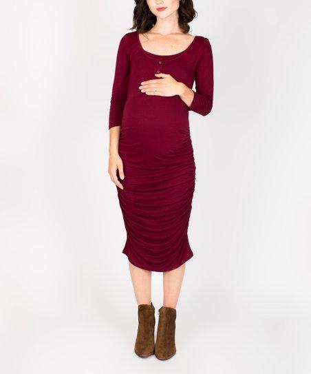 2293d4847c785 love this product Merlot Snap Maternity/Nursing Dress