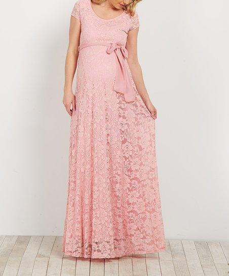 Pink Lace Maternity Dress Long