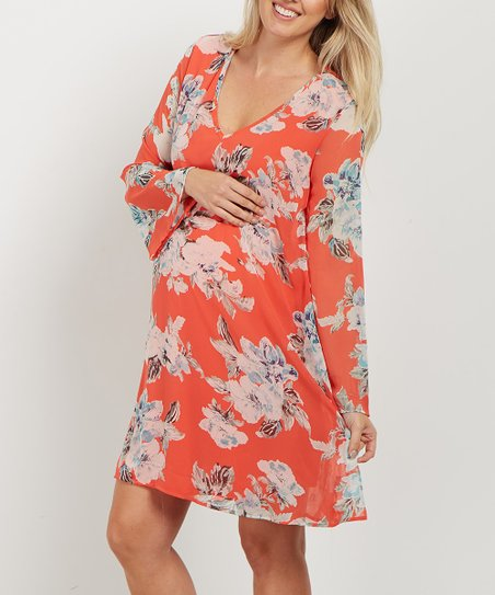 115d7d596f PinkBlush Maternity Orange Floral Chiffon Maternity Dress