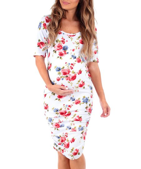 219373954cf Mother Bee Maternity Ivory Floral Ruched Maternity Dress - Women ...