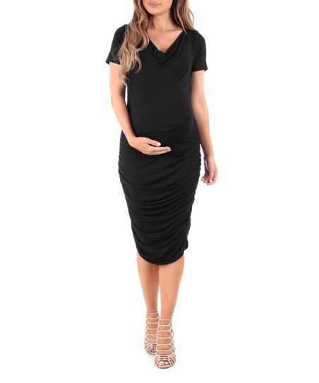 0ba0e957fe Mother Bee Maternity Black Maternity V-Neck Dress