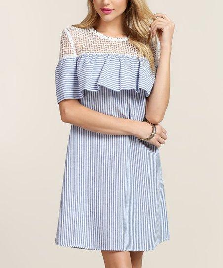 Tassels N Lace Blue White Stripe Flounce Dress Zulily