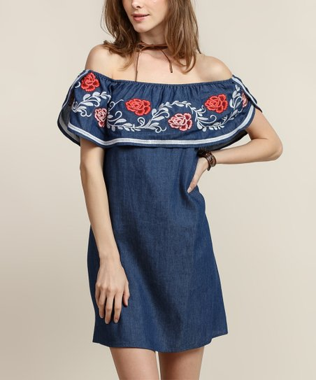 3bc0deba554 Tassels N Lace Dark Denim Blue Rose Embroidery Ruffle Off-Shoulder ...