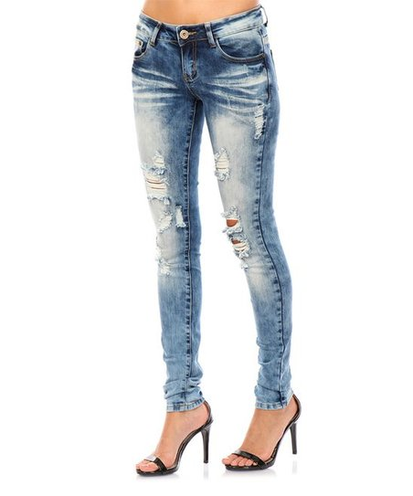 7f49739c0d2 JZ JEANS Faded Blue Denim Distressed Skinny Jeans - Women