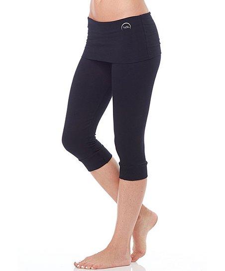 2150e2a409 Hyde Apparel Black Kelly Organic Cotton Capri Yoga Pants | Zulily