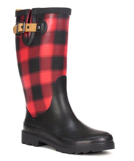 Red \u0026 Black Buffalo Check Rain Boot