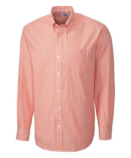 1ac551e33e Cutter & Buck Orange Stripe Long-Sleeve Oxford Shirt - Men | Zulily