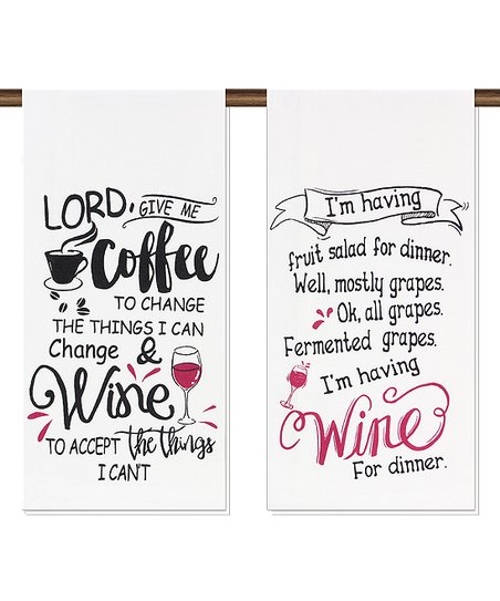 'Lord Give Me Coffee' & 'I'm Having Wine' Tea Towels - Set of Two