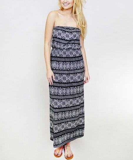 a4cacdb25a0e SOB Clothing Black & White Geometric Strapless Maxi Dress | Zulily