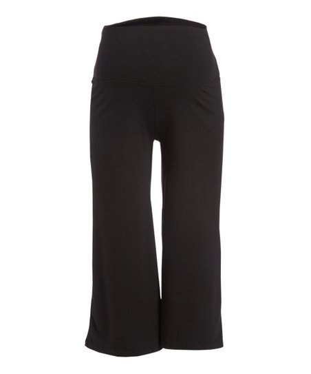 8d7f3648eb273 Mom   Co Black Fold-Over Maternity Gaucho Pants