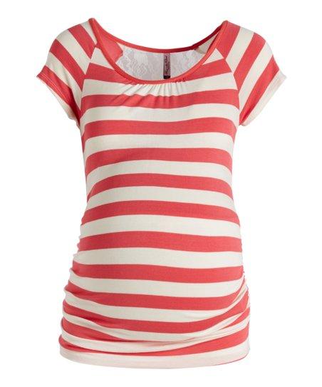 a010e807a3e7a Mom & Co Coral & Natural Stripe Lace-Back Maternity Tee | Zulily