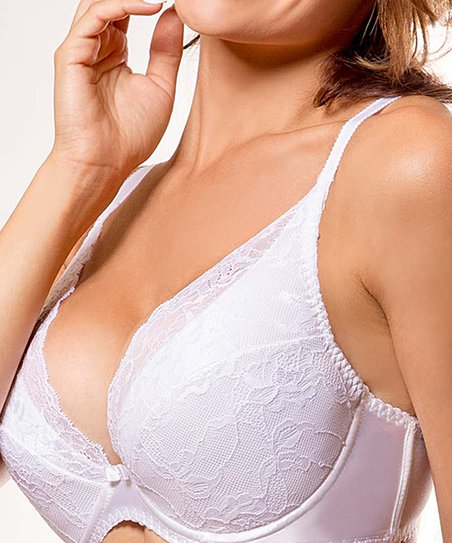 a0bca37e9ed love this product White Lace-Cup Catherine Plunge Push-Up Bra - Plus Too