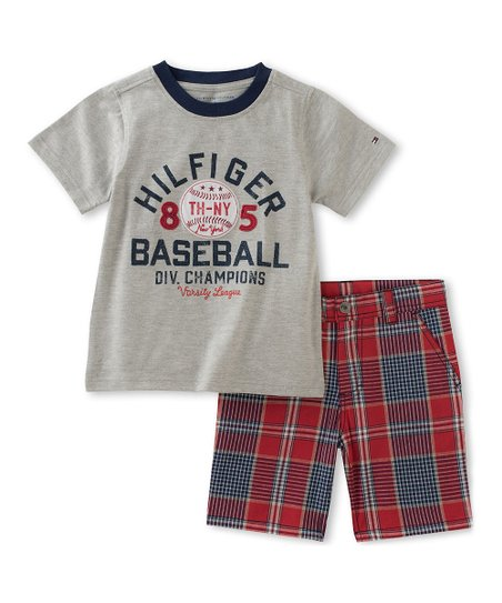 02b369e9 Tommy Hilfiger Gray & Red Baseball Tee & Shorts - Toddler | Zulily