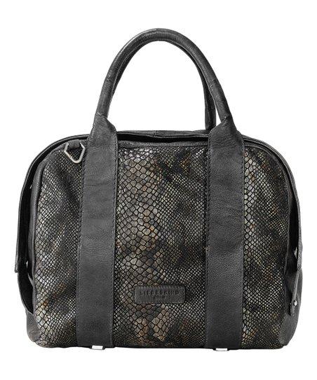 Nairobi Black Snake Panel Oran Leather Shoulder Bag