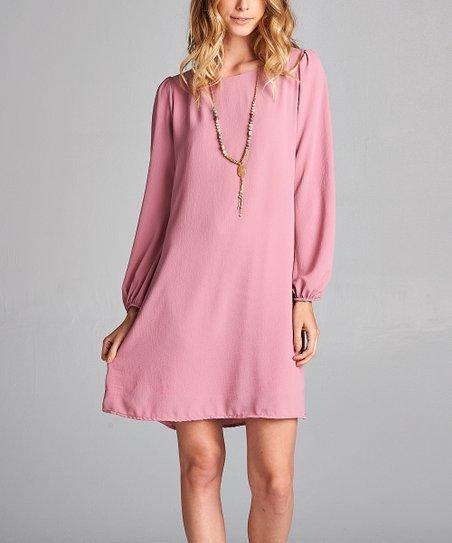 love this product Mauve Long-Sleeve Shift Dress - Women 1b1b308946
