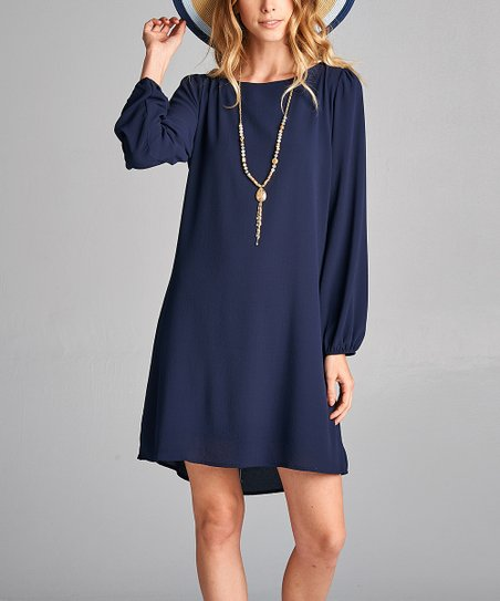 love this product Navy Long-Sleeve Shift Dress - Women f8dd99eaee3d