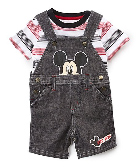 686bdf930 love this product Black & Red Mickey Mouse Denim Overalls & Tee - Infant
