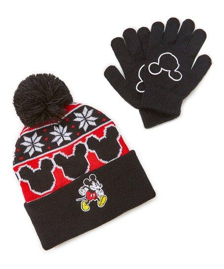 ABG NYC Black   Red Mickey Mouse Pom Beanie   Glove Set - Kids  9bbb9eda9537