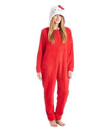 9ebdd3be7 Age Group Ltd. Hello Kitty Red Hooded Jumpsuit Pajamas - Plus | Zulily