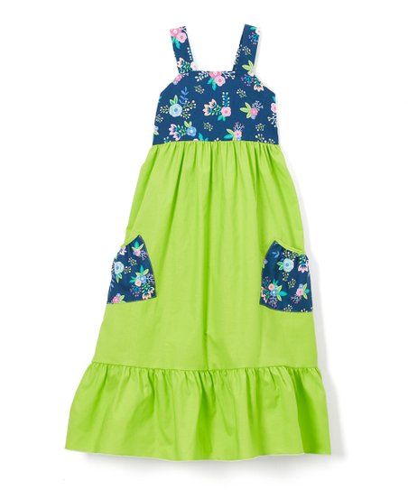 6119bc20f Little Miss Fashion Green Floral Contrast Pocket Maxi Dress ...