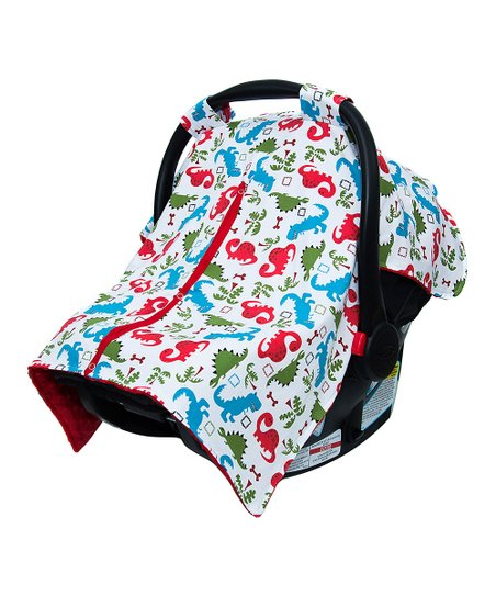 Superb Jlika Red Dino Minky Car Seat Canopy Cover Zulily Pabps2019 Chair Design Images Pabps2019Com