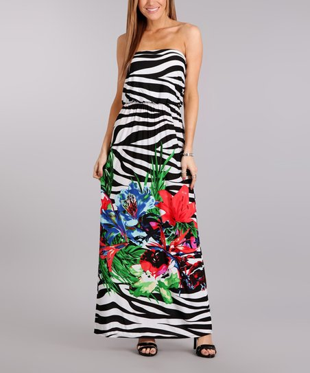 832b838d9da love this product White   Black Zebra Floral Strapless Maxi Dress