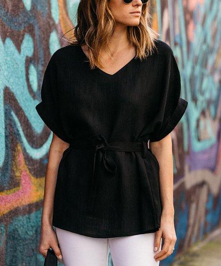 f2ed6233dc6a02 Amaryllis Black Tie-Waist Linen-Blend V-Neck Top - Women | Zulily