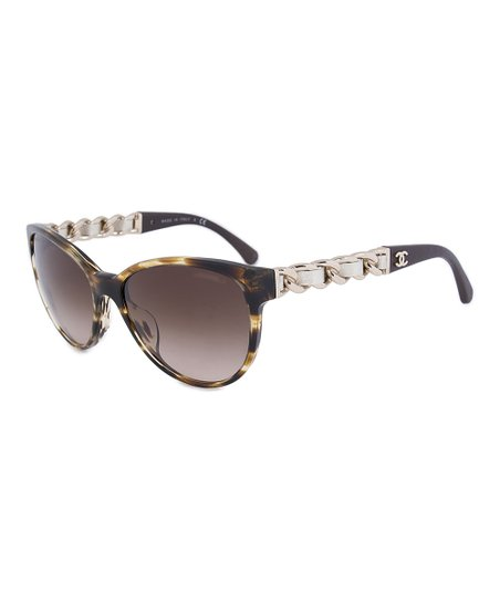 697f3c9f047d0 Chanel Light Tortoiseshell Gradient Butterfly Chain Sunglasses