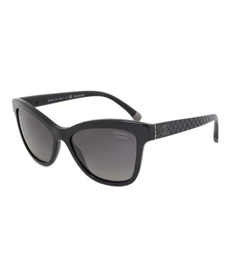 6656f3cb42fb Chanel Black & Gray Polarized Cat-Eye Quilted Sunglasses | Zulily