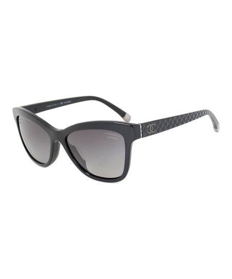 7d7ea5c28d42 Chanel Black Polarized Cat-Eye Quilted Sunglasses | Zulily