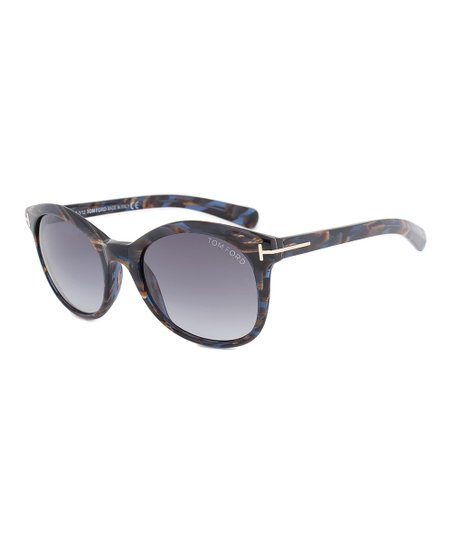 5a63775afc2fe Tom Ford Blue   Brown Havana Gradient Riley Unisex Oval Sunglasses ...