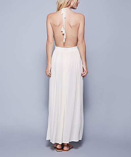 love this product White Plunge Halter Maxi Dress baadba9d4