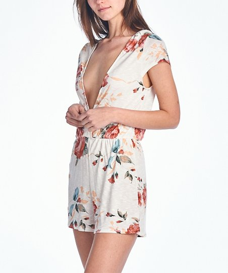 56b1691b299 love this product White   Red Floral Romper - Women