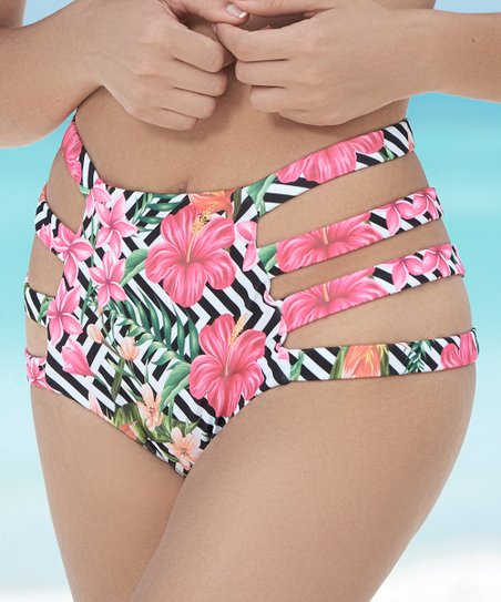 00491a288a love this product Black & White Floral Strappy High-Waist Bikini Bottoms -  Women