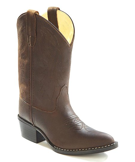 b06c0a16911 Old West Distressed Brown Corona Calfskin Cowboy Boot - Kids