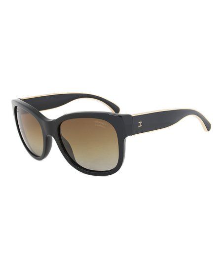 d456efdd3a0 ... Chanel Black   Gold Polarized Cat Eye Sunglasses Zulily