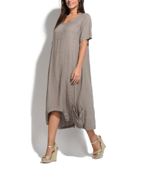Taupe olive linen dress