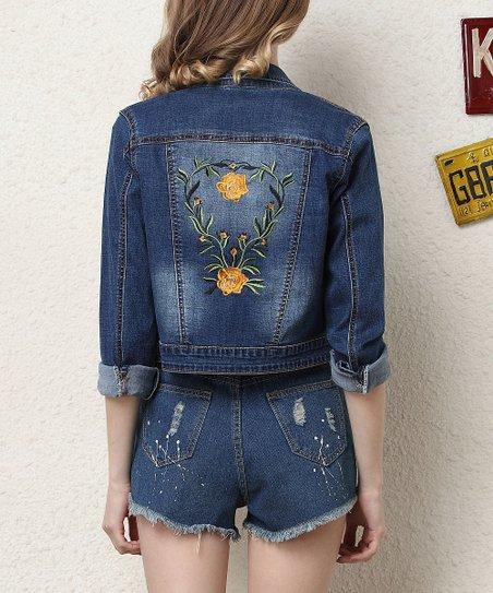 Coeur De Vague Dark Blue Yellow Rose Embroidered Denim Jacket Zulily