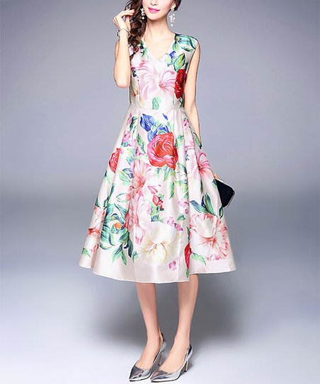 462ad17ab97 love this product White Floral A-Line Midi Dress