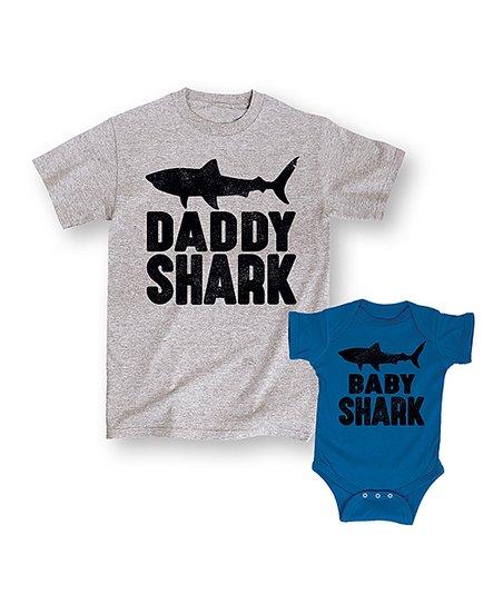7e1e9abd77f0b love this product Gray & Blue 'Daddy Shark Baby Shark' Tee & Bodysuit Set