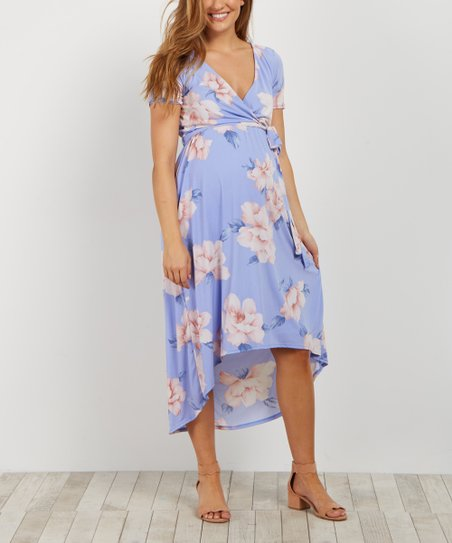 1446f77eac061 PinkBlush Maternity Periwinkle Floral Maternity Hi-Low Dress | Zulily