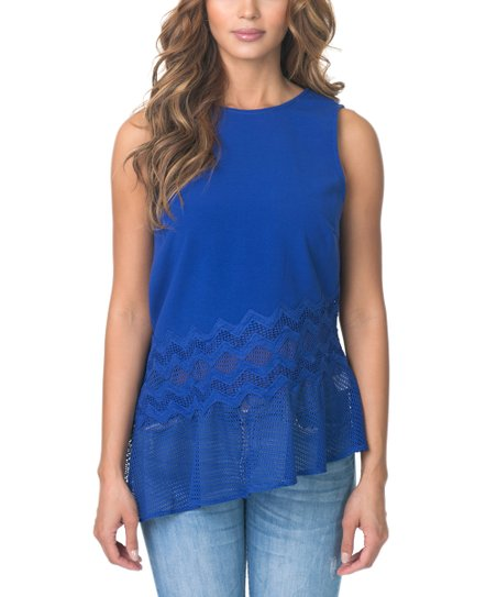 d7d8c93194df9 love this product Royal Blue Crochet-Accent Asymmetrical Top - Women