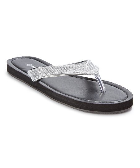 9c00fa9ff94d love this product Silver   Black Glitter-Strap Flip-Flop - Women