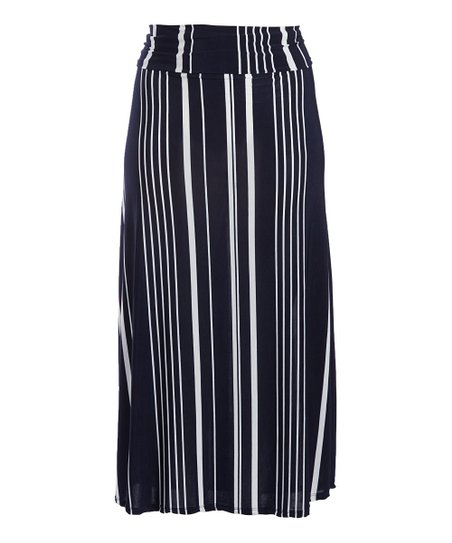 9ff9e18078c love this product Navy   White Stripe Maxi Skirt - Women   Plus